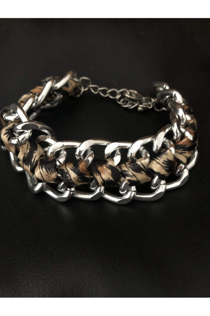 Bracelet chaîne avec tissus Léopard