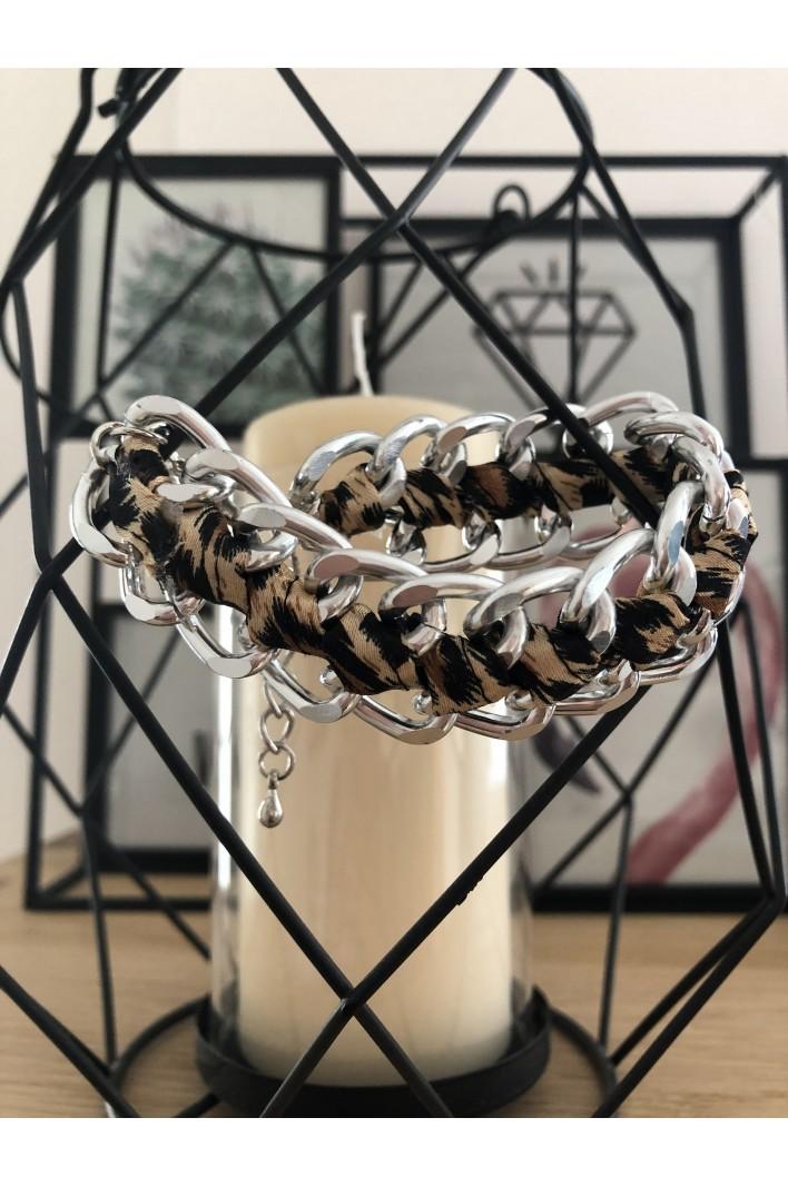 Bracelet chaîne avec tissus...