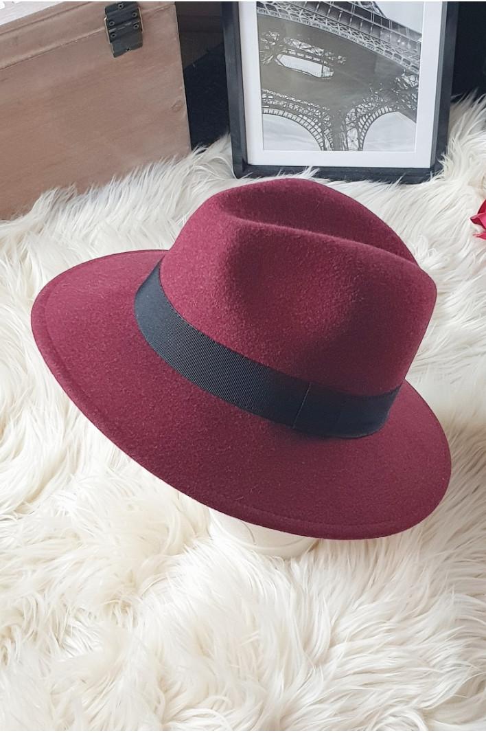 Chapeau laine bordeau