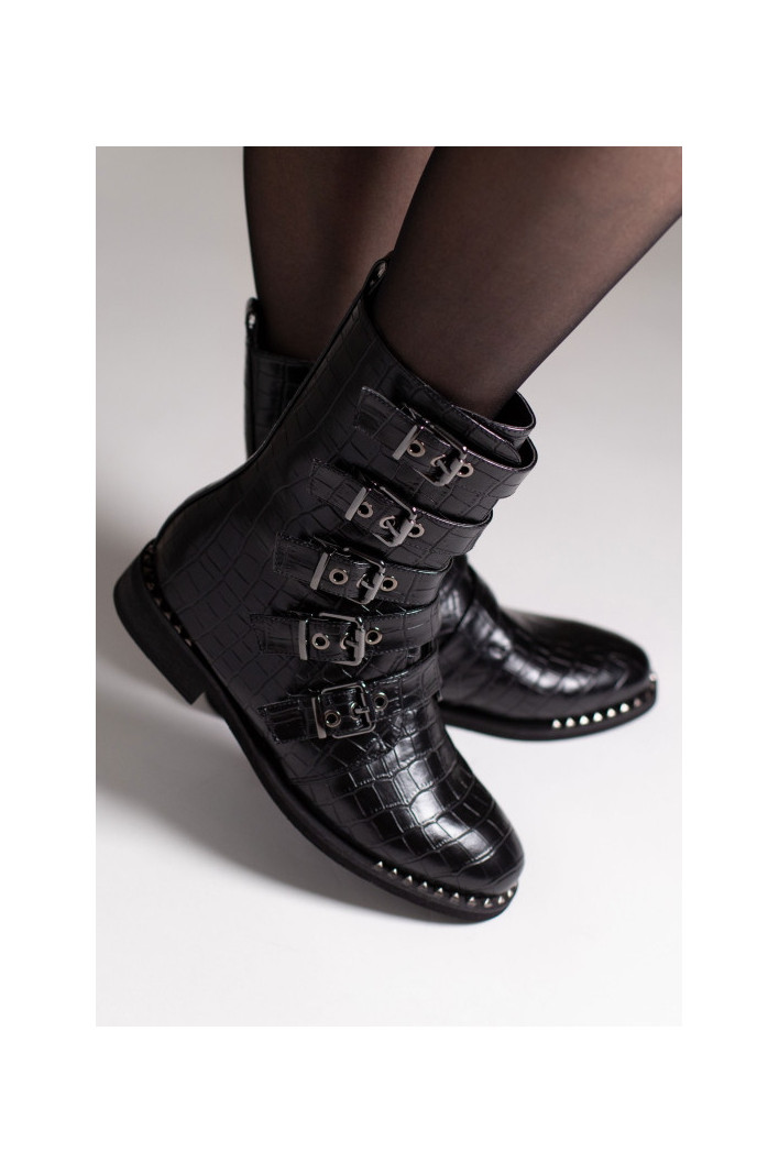 Bottines Motardes croco Vanessa - Vanessa Wu