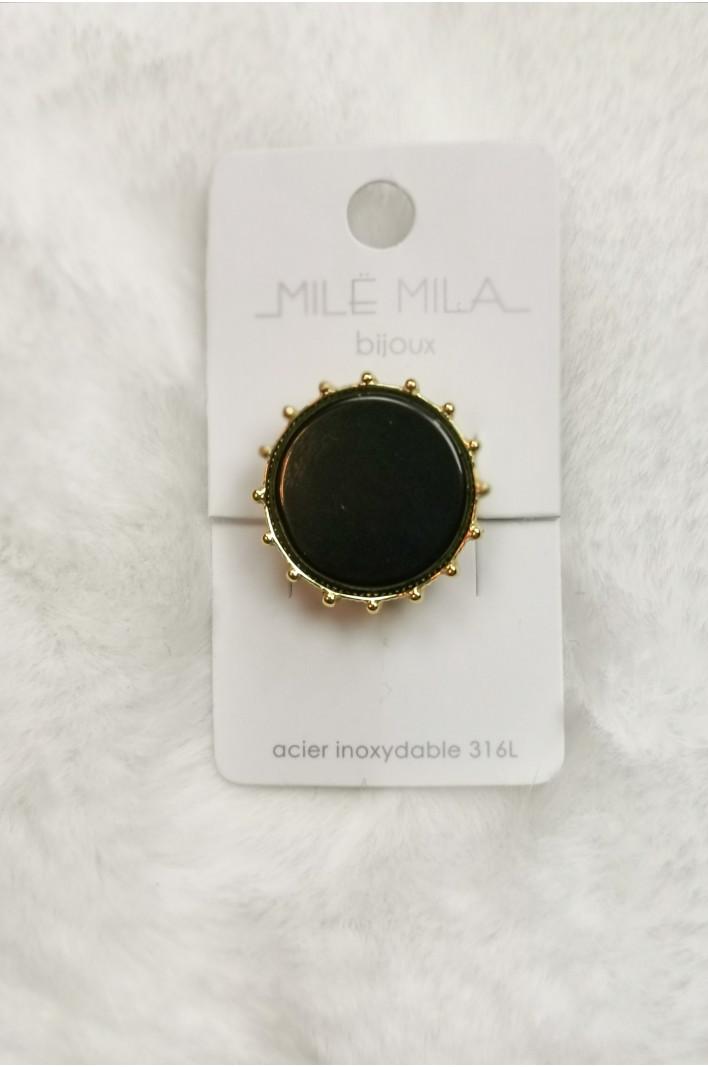 bague chevalière noire dorée - Mile Mila