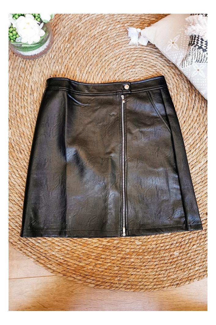 Jupe simili cuir Noir Zurich