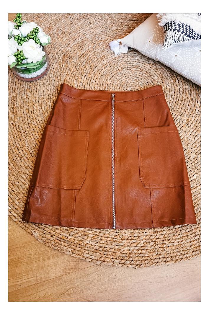 Jupe simili cuir Marron Nice