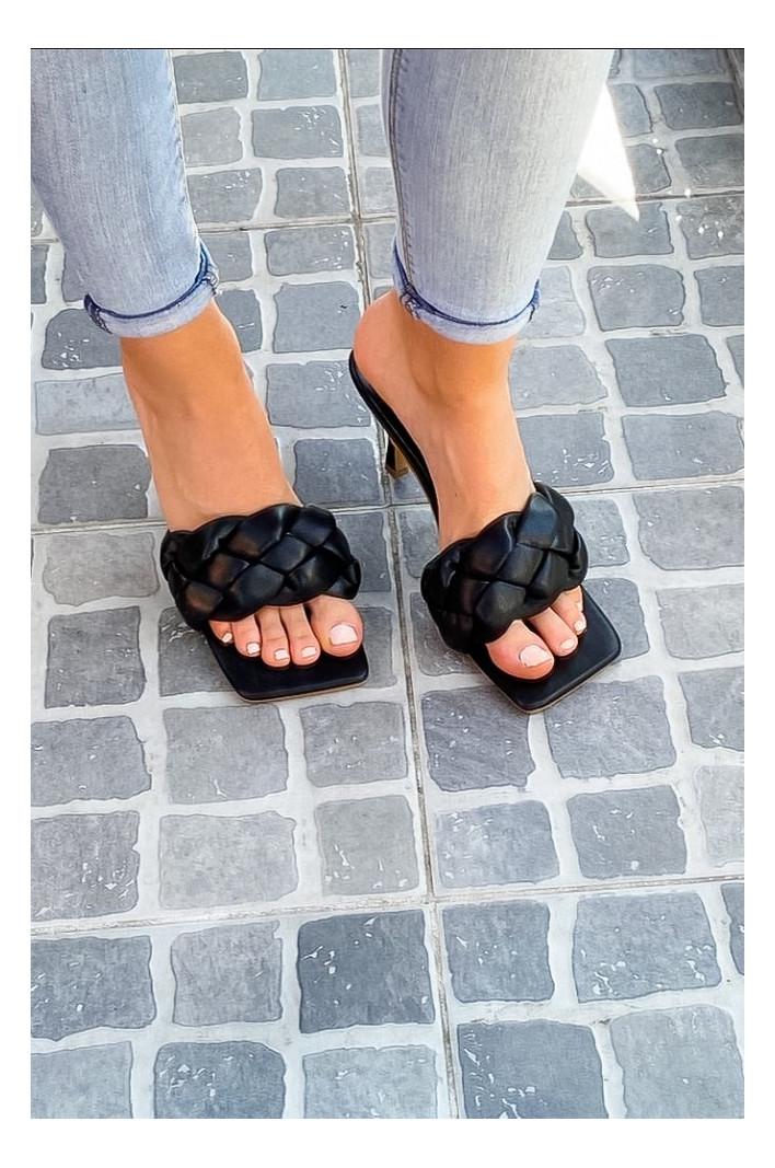sandales tressées noires Roxane
