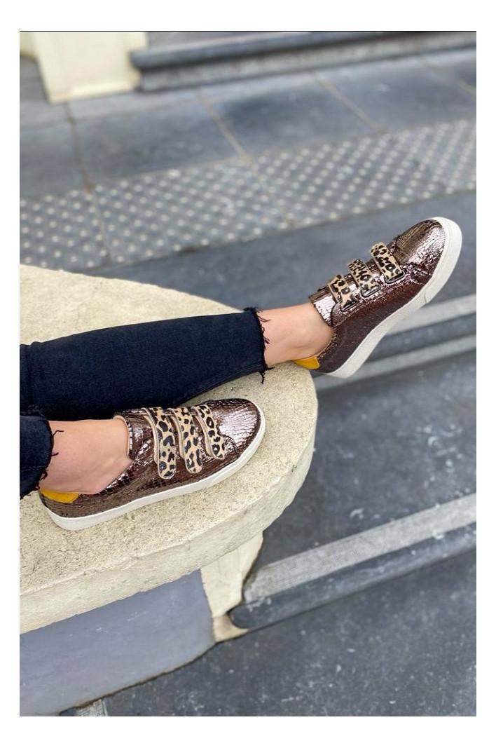 Baskets anthracite effet craquelé scratchs leopard - Vanessa Wu