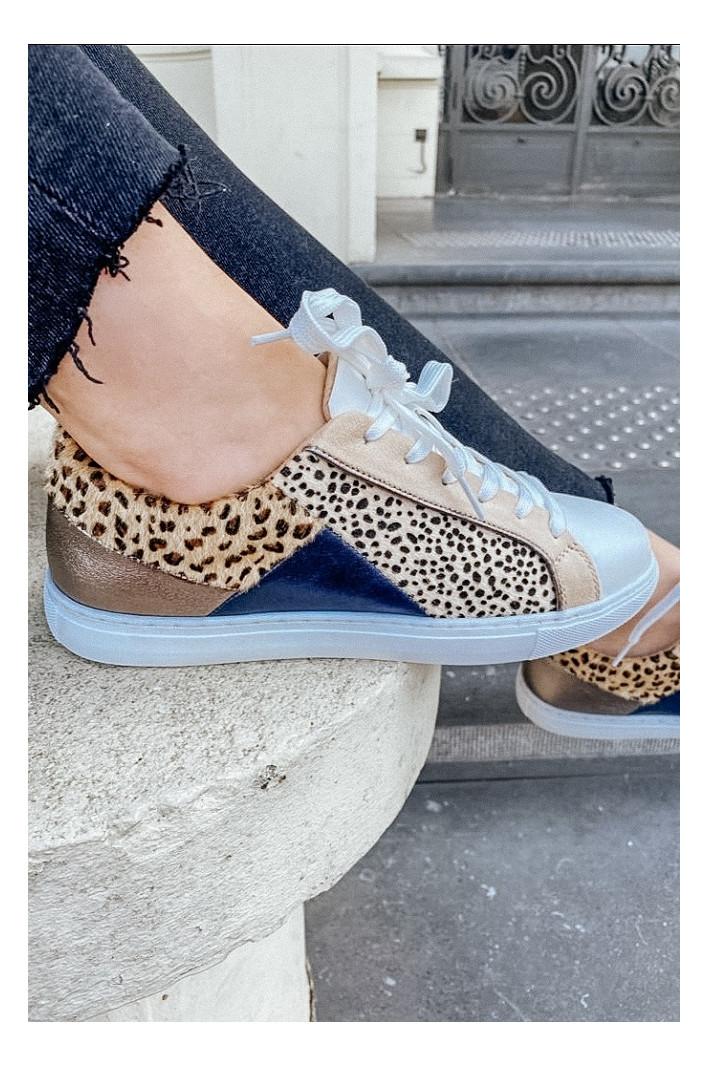 Baskets multi-empiècements guépard et léopard- Vanessa Wu