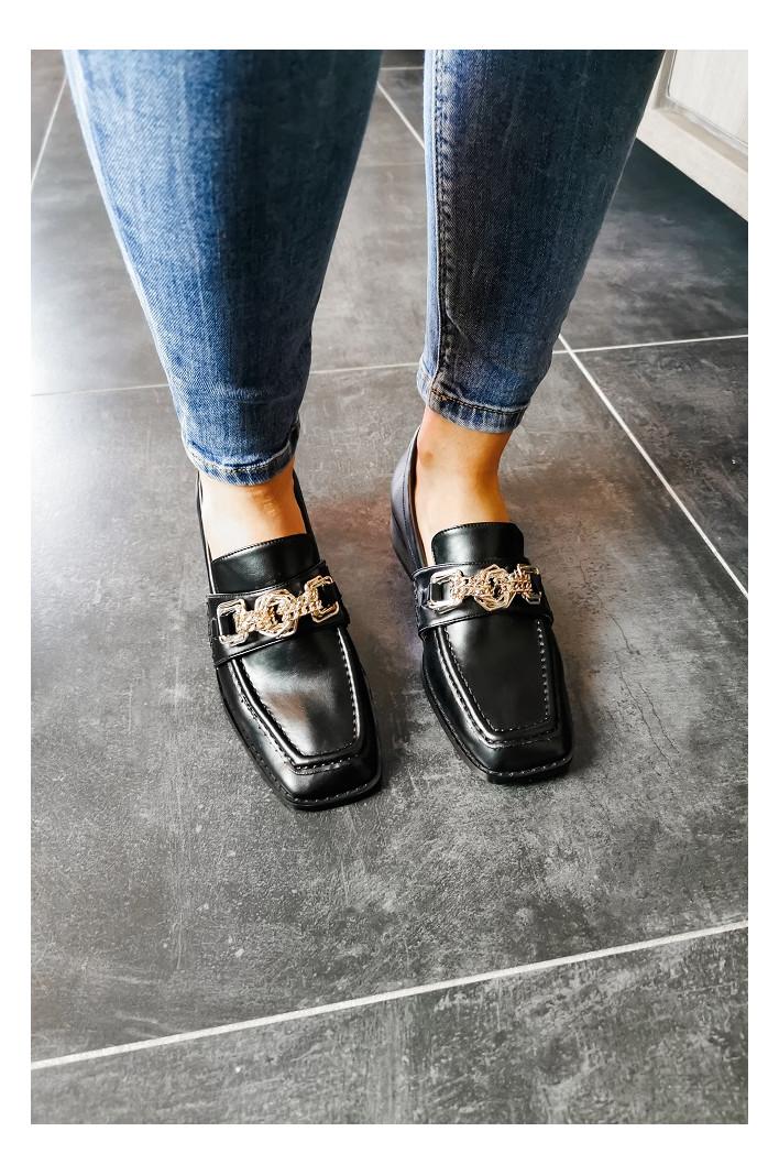 Mocassins Noirs chaine dorée - Vanessa Wu