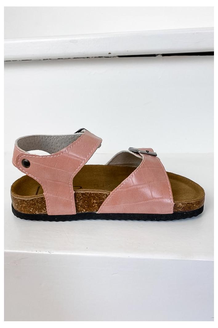 Sandales enfant Rosette Rose Croco - Les Petites Bombes