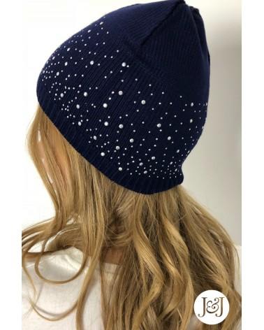 Bonnet à strass Bleu