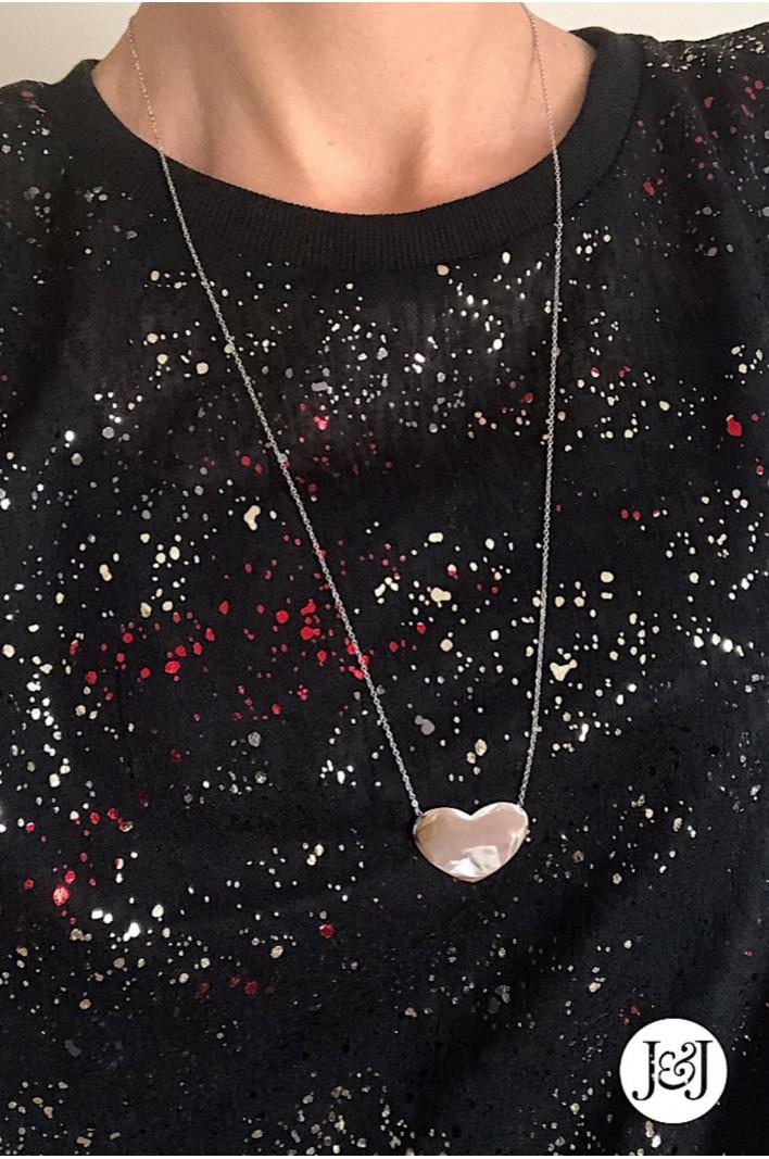 sautoir pendentif cœur argenté Milë Mila